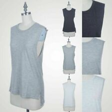 Round Neck Muscle Tank Top with Side Slits High Low Hem Polyester Cotton S M L