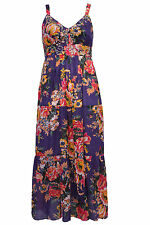 Plus Size Womens Floral Print Tiered Cotton Maxi Dress With Sequin Detail