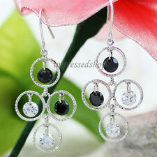 18K white gold plated earrings dangle women round big drop earrings for party