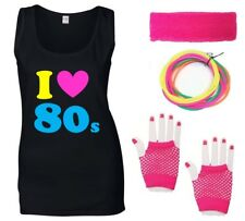 I LOVE THE 80s Ladies Vest & Accessories - Fancy Dress Costume Outfit Neon 80's