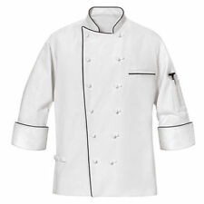 MENS MASTER WHITE CHEF COAT with Black Piping size S,M,L,XL,2XL,3XL,4XL