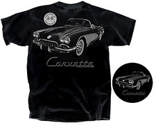 "C1 Corvette 1959-1960 ""Tonal"" Conv. Black Men's 100% Ultra Cotton T-Shirt NEW"