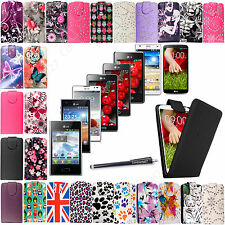 New Printed Flip Leather Case Cover For LG Optimus Mobile Phones + Free Stylus