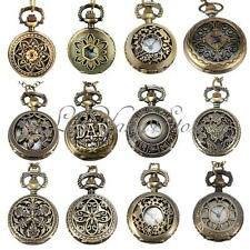 Vintage Bronze Antique Hollow Pocket Watch Necklace Pendant Chain Xmas Gift UK