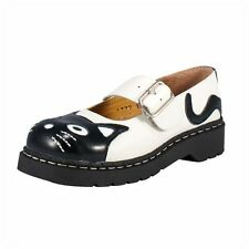 T.U.K. Kitty Cat Face White Black Anarchic Brogue Leather Mary Jane Strap Shoes