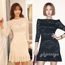 2015 Fashion Women Long Sleeve Lace Evening Club Party Cocktail Sexy Mini Dress