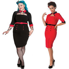 Hell Bunny Clara Retro 50s Vintage Fitted Pinup Pencil Wiggle Career Party Dress