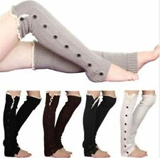 High Knit Knee Flat Lace Trim Button Down Crochet Leg Warmers Boot Sock for Lady