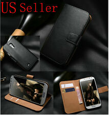 Genuine Real Leather Magnetic Flip Wallet Case Cover For iPhone Samsung HTC LG