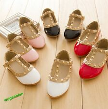 Pretty Princess Girls Kids Sandals New Rivet Buckle T-strap Flat Shoes 16 Sizes