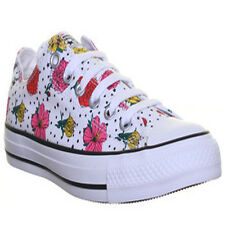 Converse All Star Low Womens Canvas Trainers White Floral Print Size UK 3 - 8
