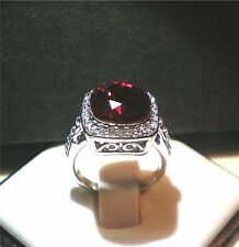 Gorgeous Swarovski Crystal Ruby Ring 18K White Gold Plated Various Sizes