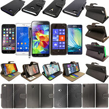Plain Black Book Wallet Side Flip Case Cover For Various Mobile Phones+Stylus