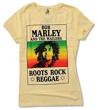 "BOB MARLEY ""ROOTS"" YELLOW BABY DOLL T-SHIRT NEW OFFICIAL JUNIORS ROCK REGGAE"