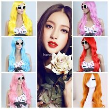 """28"""" Women Long Wavy Curly Multi-color Cosplay Party Heat Resistant Hair Full Wig"""