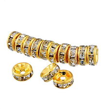 Wholesale Gold Plated Rondelle Spacer Beads Swarovski CZ Crystal Elements 6mm