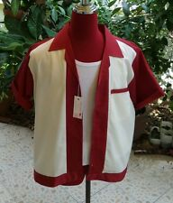 Hand Made 1950's Style Mens Rockabilly Bowling Shirt Burgundy &  Cream front