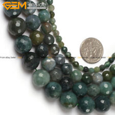 """Natural Gemstone Genuine Green Moss Agate Beads For Jewelry Making 15"""" Faceted"""