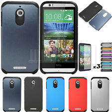 Slim Hybrid Shockproof Armor Silicone Case Hard Cover For HTC Desire 510 + Film