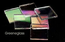 Clear Iridized Fusible 96 coe Mosaic Glass Tile * Cut to Order Shapes * Lg Pack