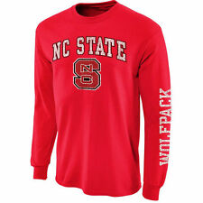 Mens NC State Wolfpack Red Arch & Logo Long Sleeve T-Shirt - College