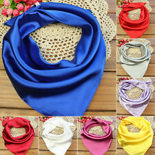Fashion Women Soft Silk Square Scarf Small Plain Neckerchief Head Neck Headband