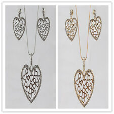 In 2 Color 14k Gold Filled Austrian Crystal Heart Earring Necklace Jewelry Set