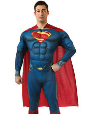 Man Of Steel Mens Deluxe Muscle Suit Superman Superhero Halloween Costume M-XL