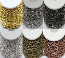 Lots 1/10M Silver/Golden Plated Metal Iron Cross Chains Jewelry Findings 10x5mm