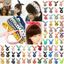 1pc Girl Rabbit Bunny Ear Ribbon Wire Headband Hair Tie Cute Head Bow H1287-1307