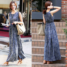 Fashion Women Floral Print Sleeveless Pleated Bohemian Beach Slim Fit Long Dress