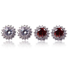 Jewelry Fashion Ruby/White Stud Earrings 10Kt White Gold Filled For Wedding Gift