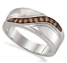 Men's .925 Sterling Silver Channel Set Chocolate Brown Diamond Ring Band .25ct