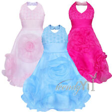 Flower Girls Princess Bow Dress Toddler Baby Wedding Party Pageant Dresses 3-9Y