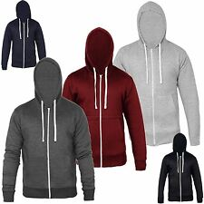 NEW PLAIN MENS HOODY FLEECE ZIP UP AMERICAN HOODED ZIPPER JACKETSWEATSHIRT TOP