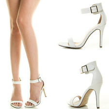 Open Toe Ankle Strap Med High Stiletto Heel Bridal Wedding Womens Sandal Pump US