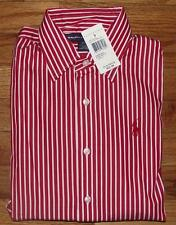 NWT Polo Ralph Lauren Womens Long Sleeve PONY LOGO Dress Shirt Red/White Striped