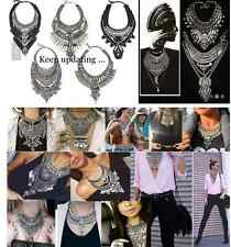 2015 New Design Lady Statement crystal silver metal layer necklace multi styles