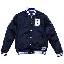 BBC BILLIONAIRE BOYS CLUB REVERSIBLE MAJESTIC SATIN BASEBALL  JACKET NAVY