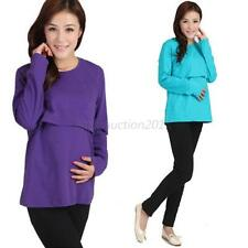 Maternity Clothes Nursing Long Sleeve O Neck T shirt Pregnant Womens Tops L37