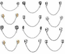 925 Silver European Safety Chain Charms Beads For Fashion Snake Bracelet Chain