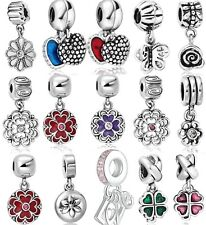 Flower Silver European Bead Charm Custom Jewelry For 925 Sterling Snake Bracelet