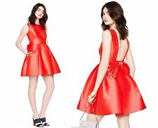 2015 $428 Kate Spade Mini Cocktail Dress Back Bow Fit & Flare 0246 NWT Geranium
