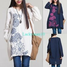 Casual Women Long Sleeve Embroidered Floral Cotton linen Ethnic Loose Dress M-XL
