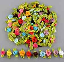 100PCS Ribbon Rose Flower Satin Decor Bow Appliques Craft Sewing Wedding DIY
