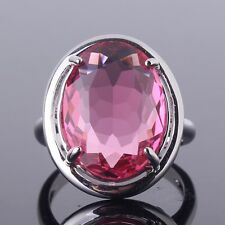 Fashionable 18K white gold filled pink sapphire nice lady ring Sz6-Sz10