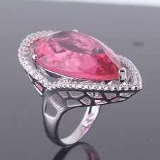 18K white gold filled Pear cut pink sapphire  nice ring  Sz6-Sz10