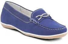 Padders BRIGHTON Womens Ladies Nubuck Wide Fit Moccasin Loafers Shoes Royal Blue