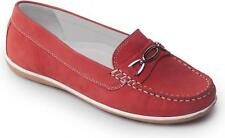 Padders BRIGHTON Womens Ladies Nubuck Wide Fit Moccasin Saddle Loafers Shoes Red