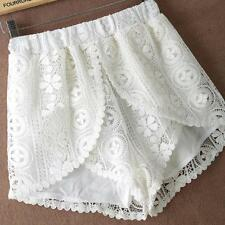 UK 8-18 Slim Womens Casaul White Broderie Floral Denim Lace Shorts Elastic Pants